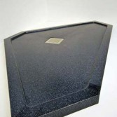 6 sides made to measure shower tray in Black sparkle with square waste whole.