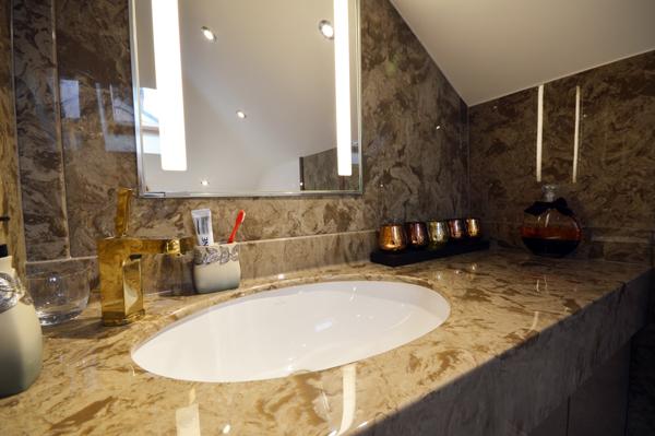 Marble vanity top from Versital in 'Coffee Creme'