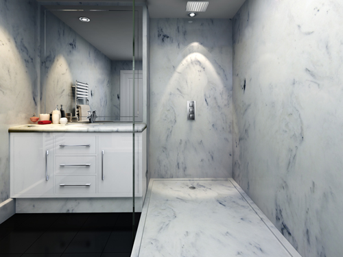 Designer look bathroom in white marble - marble panels, marble shower tray and marble vanity top.