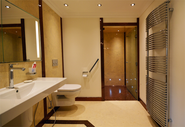 Marble and sparkle bathroom with large walk in shower