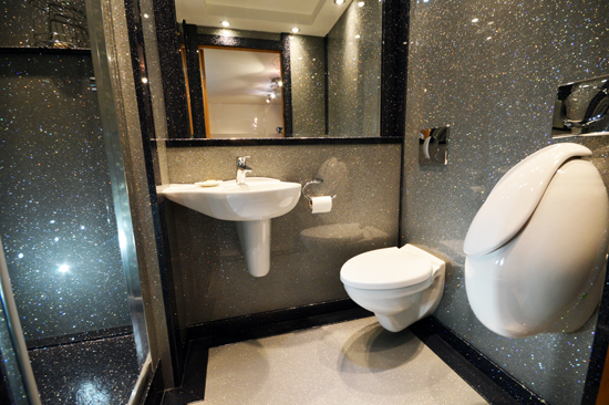 Sparkly shower room using shower panels, floor and shower tray in Just Silver from Versital