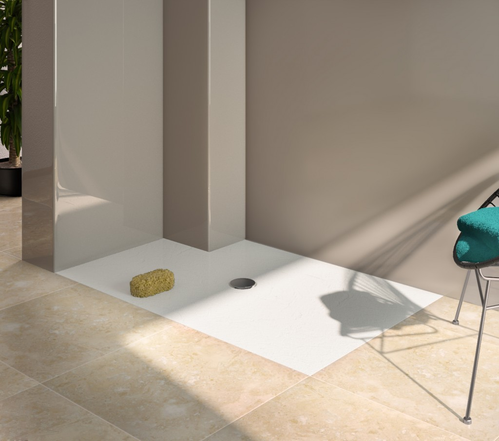 Made to measure shower tray with notch out in flat floor system