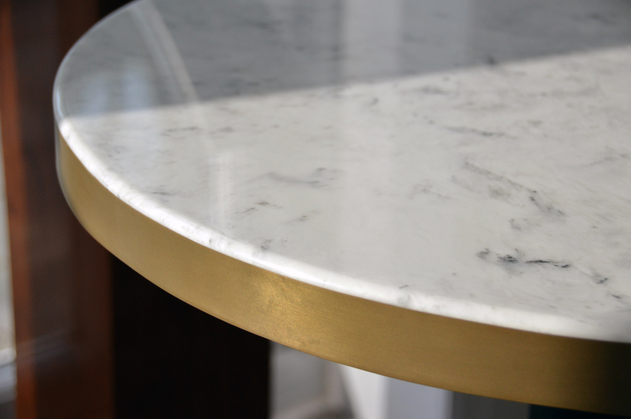 Marble table top with Metal edge Banding in Dubai Gold