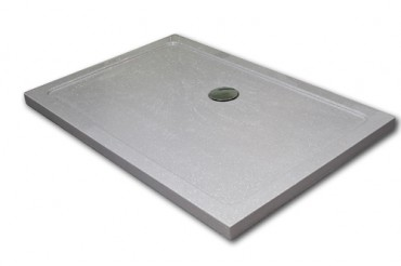 Stone resin shower tray in sparkle finish with silver chrome waste.