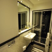 Long and narrow bathroom with wall panels and large black marble shower