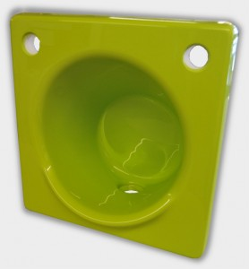 Lime green hand wash basin with 2 tap holes.