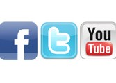 Facebook twitter and you tube logo's.