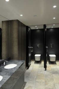 High end washroom area in grey tones, with marble grey vanity top and white basins.