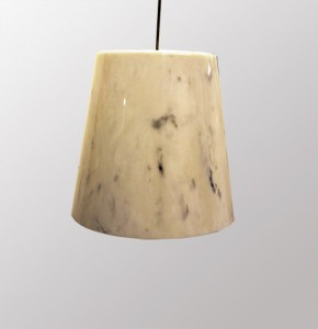 Marble light fixture - white marble with black veins.