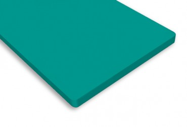 Vanity top in bright emerald finish from Versital 'Turquoise'.