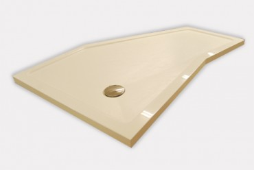 Odd shaped shower tray - made to measure. White shower tray with 6 sides.