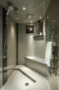 Grey granite wetroom with chrome shower and towel rail.
