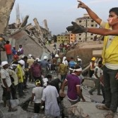 Bangladesh tragedy in April 2013 -  volunteers try to find survivors.