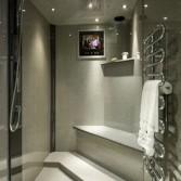 Grey granite wetroom shower area.