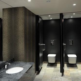 Washroom vanity top in 'Gloucester' slate marble finish.