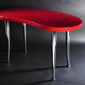Shaped bespoke table in high gloss sparkle finish 'Dorothy' with chrome legs.