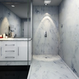 Wetroom style shower and bathroom in white marble 'Arabesque'.