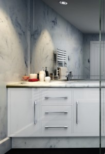 White bathroom cabinet with white marble vanity top
