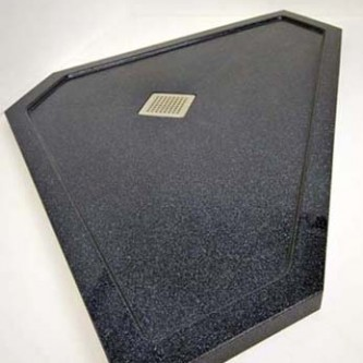 Bespoke shower tray in 'Noire Reflect' black sparkle finish.
