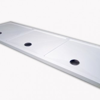 Bespoke shower tray with 3 showering areas - made in one piece.