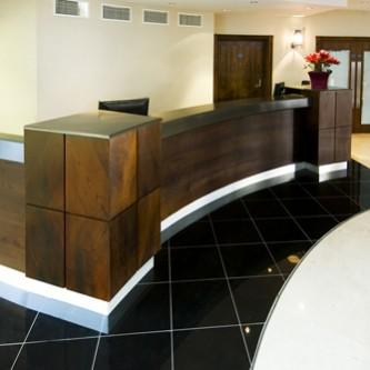 Reception desk in 'Graphite' grey granite