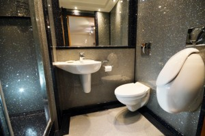Bathroom inspiration : Sparkly shower room using shower panels, floor and shower tray in Just Silver from Versital