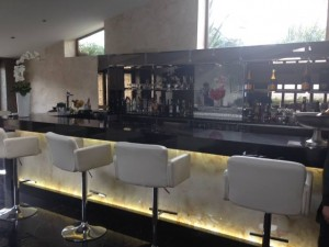 Translucent marble bar panels back lit.