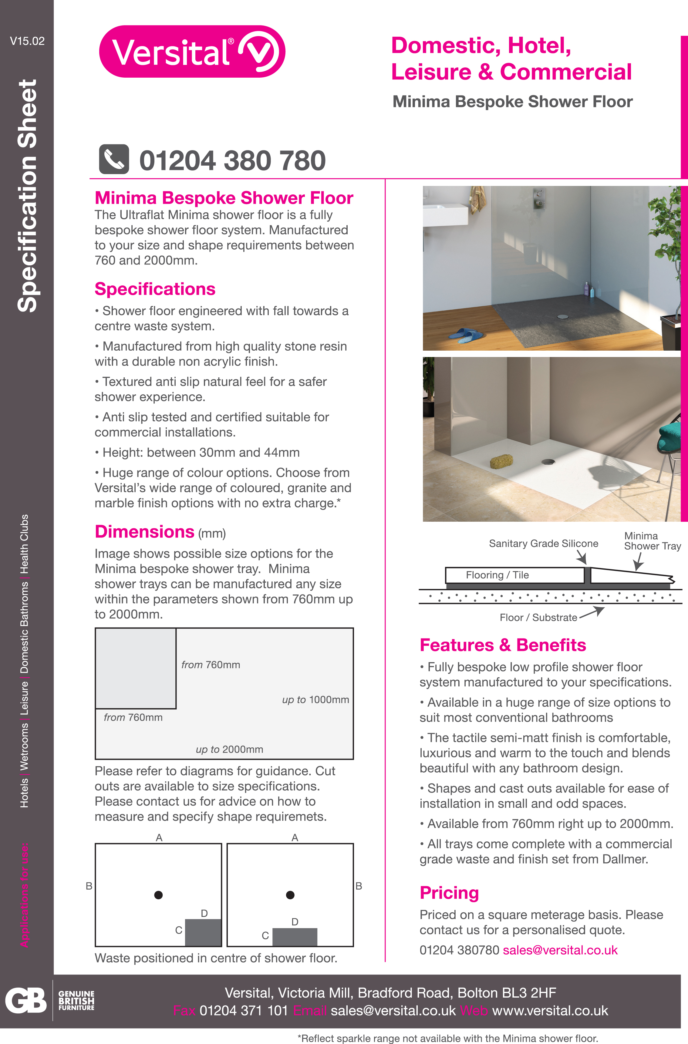 Superbe Download Minima Bespoke Shower Tray Technical Guide