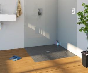 Slate grey flat shower tray.