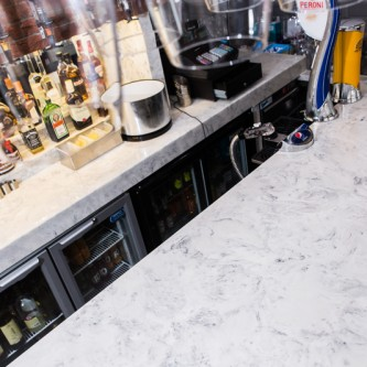 Versital Bar top in 100% waterproof faux marble finish Arabesque - alternative to Carrara Marble