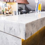 Marble bar top with LED underlighting.