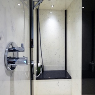 Large walk in Marble shower