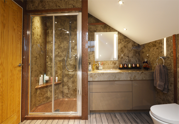 Luxury bathroom installation using Versital shower panels, shower tray and vanity top