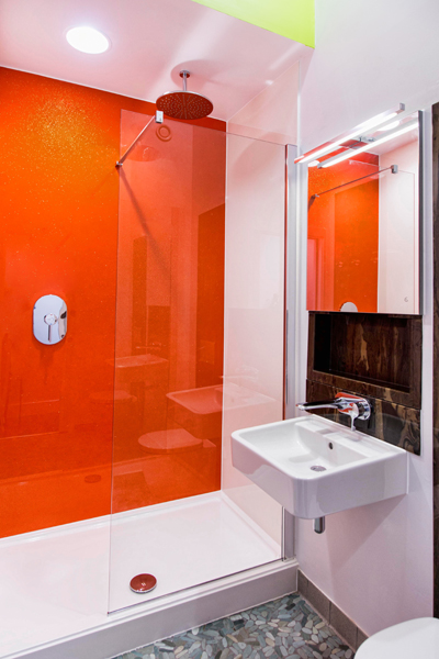 excellent orange bathroom floor | Bright orange stone resin shower panels in Tangoed sparkle ...