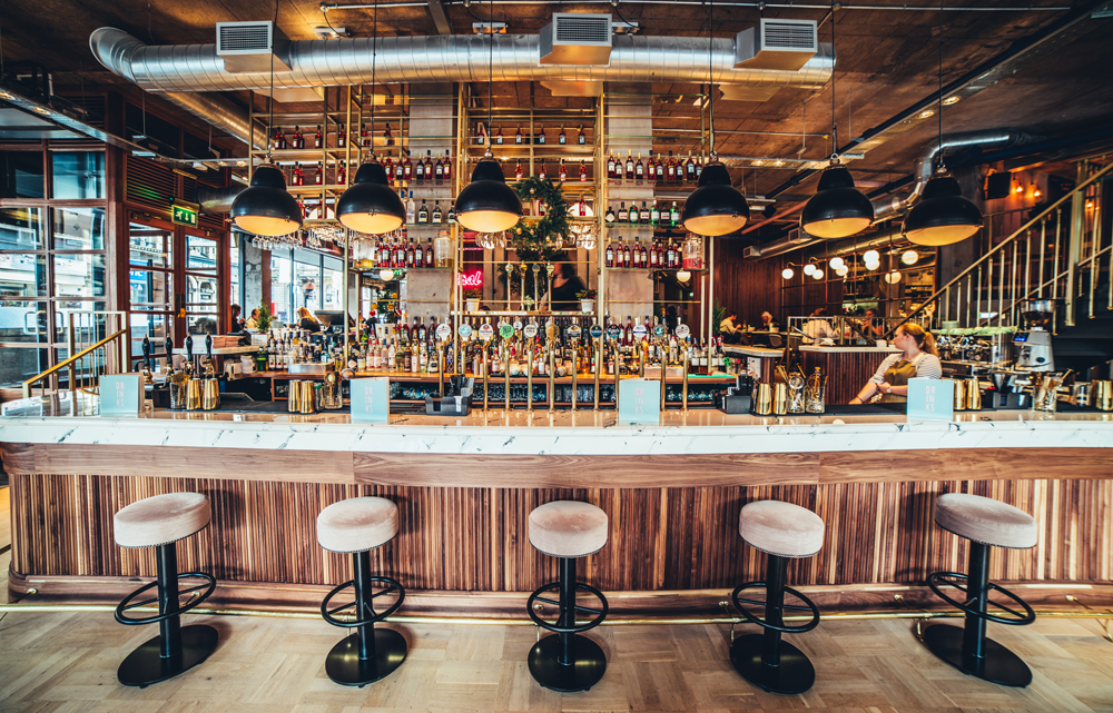 Versital marble bar tops specified by collective design at Central