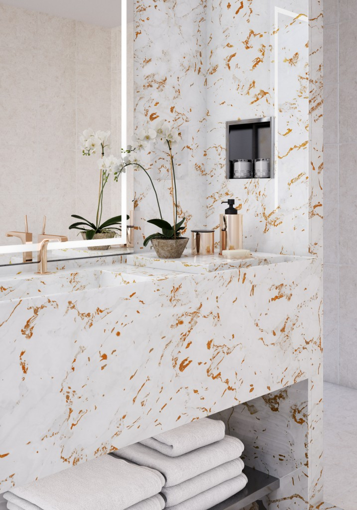 Marble bathroom with Versital metallic marble