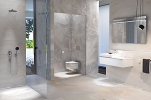Marble bathroom with grey wall panels and matching marble floor