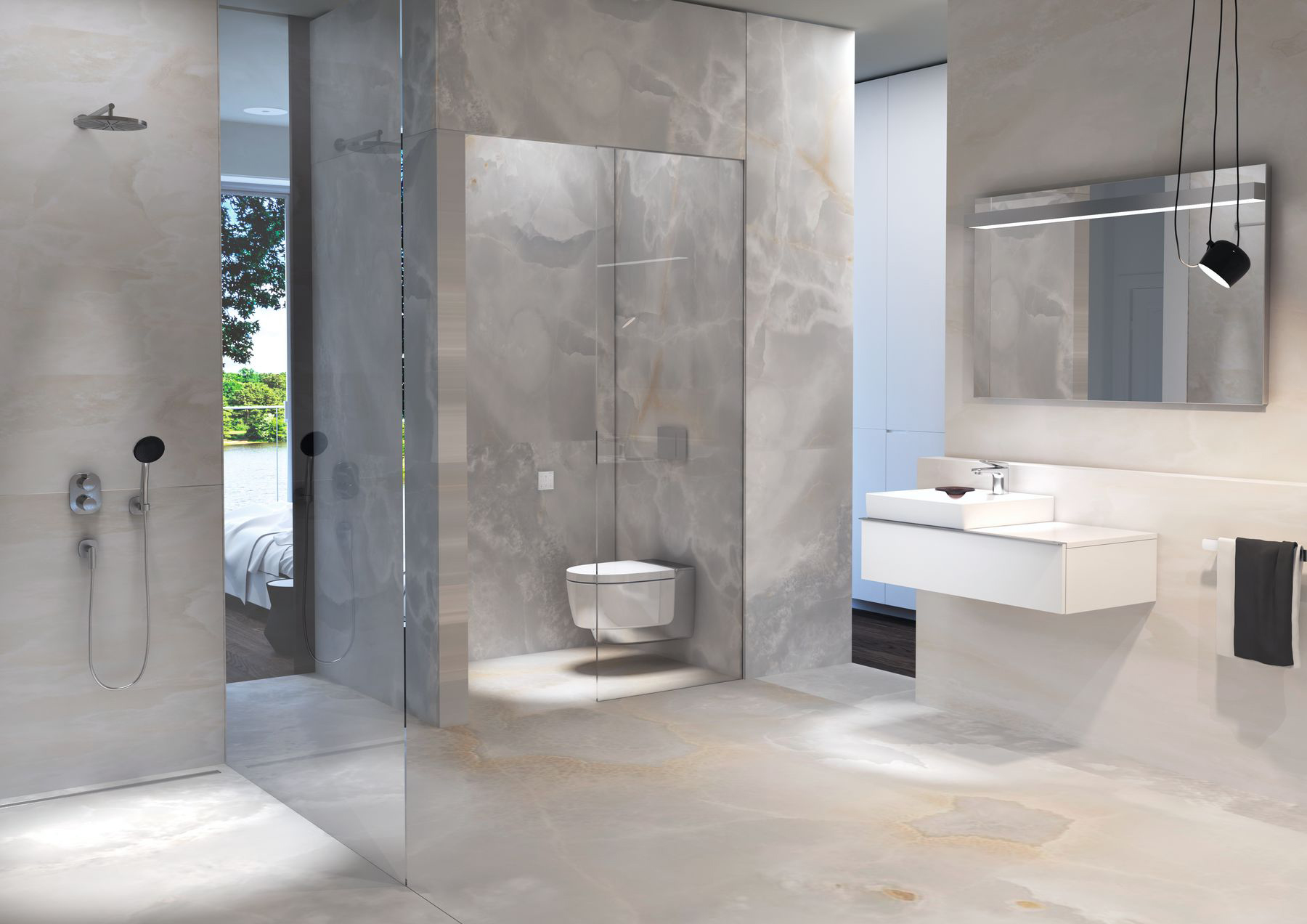 Marble bathroom with grey wall panels and matching marble floor & Marble bathroom with grey wall panels and matching marble floor ...