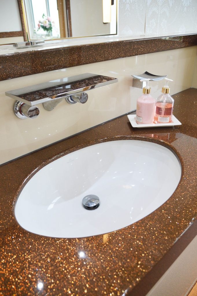 Sparkle vanity top with an undermounted sink