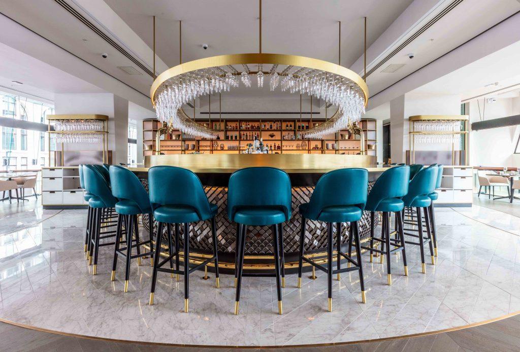 Shortlisted for the Restaurant and Bar Design Award - VIVI Bar design with gold elements