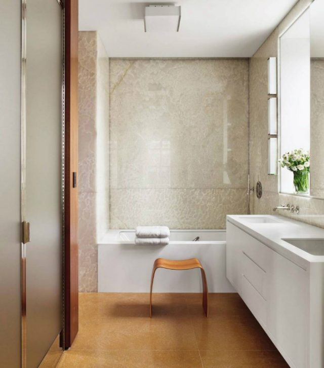 Neutral Bathroom - Vanity Top with Two Under-mounted Sinks in Cream