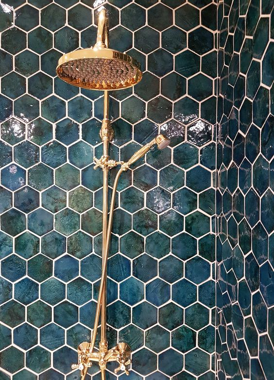 Hexagonal Teal Tiles by mosaikhjornet.dk