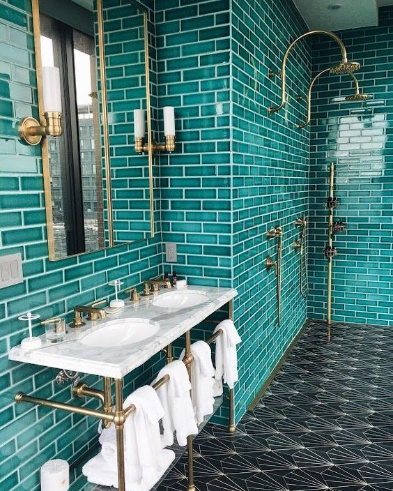 Turquoise Tiles and Vanity Top from Coveteur.com