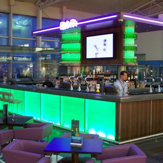 Bar Top At John Lennon Airport Noire Granite Finish