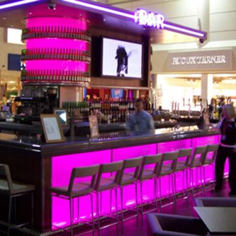 Bar Top at John Lennon Airport in Noire Granite Finish