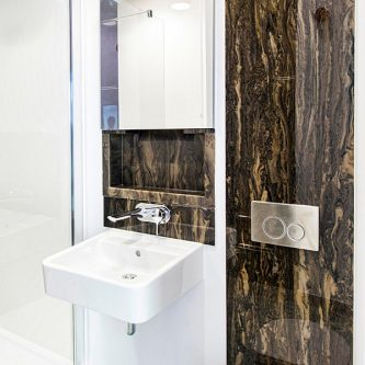 Bathroom Wall Panel in Wenge Marble Finish