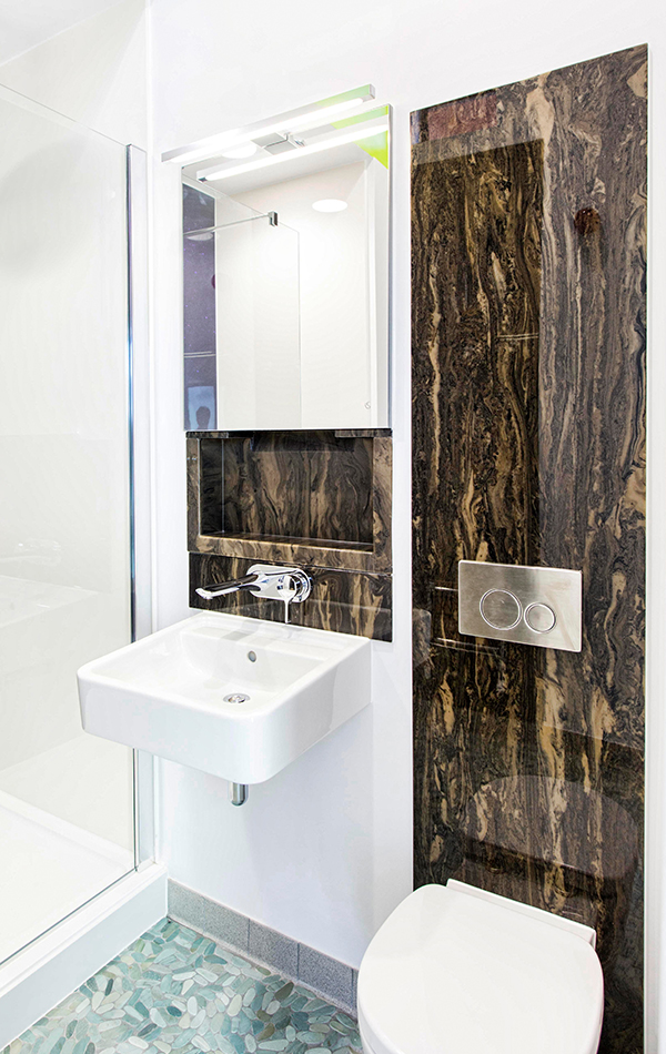 Bathroom Wall Panel in Wenge Marble Finish