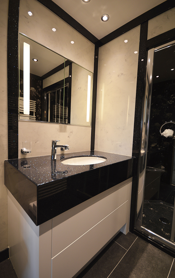 Bathroom Wall Panels in Arabesque Marble Finish and Vanity ...