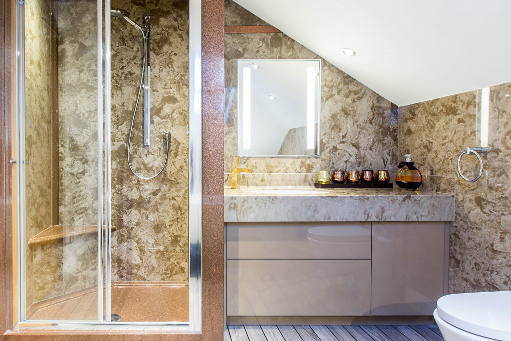 Coffee and Cream Bathroom Wall Panels and Vanity Top