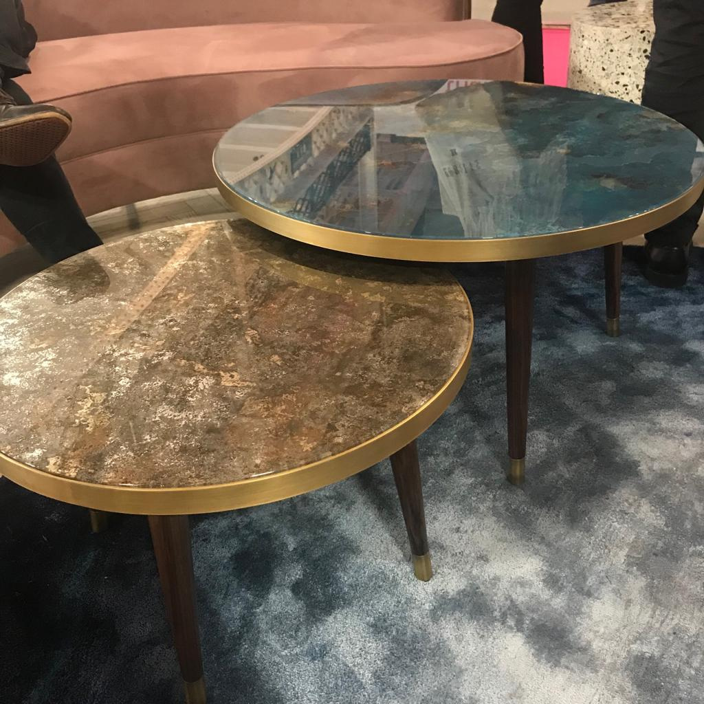 Marble table with metal banding
